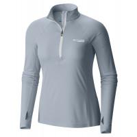 Camiseta ML Columbia Titan Ultra Half Zip Feminina Cinza Claro